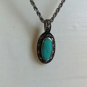 Turquoise and Marcasite 925 pendant necklace